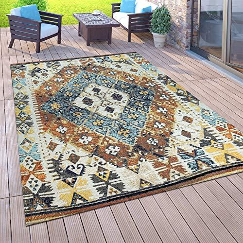 Vloerkleed voor buiten voor balkon, laagpolig in oosterse look, verschillende kleuren en formaten, Maat:200x280 cm, Farbe:Veelkleurig 5