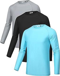 Sykooria 3 Piezas Camisetas Deporte Hombre Manga Larga UPF 50+ Protección UV, Secado Rápid Top Deportiva T Shirt Camiseta ...