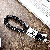 Fitracker Auto Schlüsselanhänger mit Logo handgefertigt schwarzes eflochtenes Lederband