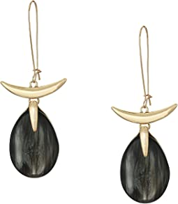 Teardrop Stone Long Drop Sculptural Earrings