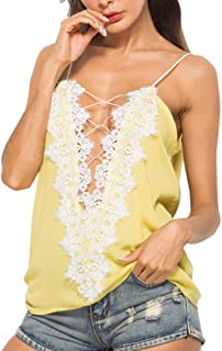 Sexy Womens Casual Flower Stitching V-Neck Basic Strappy Solid Tank Tops