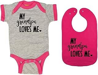 My Grandpa Loves Me - Baby Ringer Bodysuit & Premium Bib Gift Set