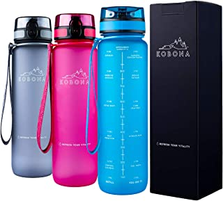 KOBONA 1-Litre Motivational Smart Water Bottle with Time Markings Hydration Tracker - Wide Mouth for Ice, Fruit Sieve for ...
