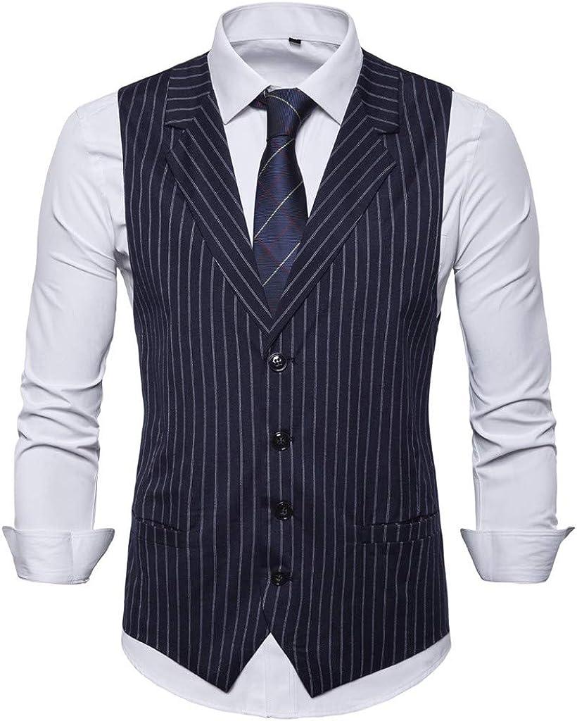 MODOQO Men's Sleeveless V-Neck Single Breasted Stripe Dress Vest Waistcoat