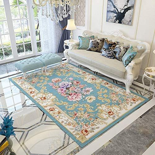 Alfombra Alfombra Infantil Fácil Limpio Azul Amarillo diseño Floral Alfombra Antideslizante decoración habitación Juvenil Antideslizante baño 120*170CM