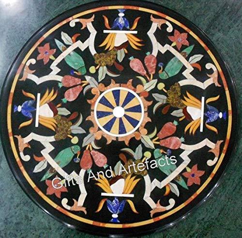 Mesa de café negra con mosaico, para decoración del hogar y la oficina
