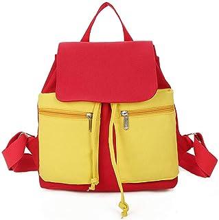 VHVCX Adrette Art, Rot, Gelb Panelled Segeltuch-Rucksack mit zwei Taschen-Rucksack-Schule-Beutel für Teenager-Mädchen
