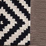 ZHOUAICHENG Zeitgenössische Wollteppich Indoor Outdoor Trellis Area Teppich Schwarz Weiß Diamond Area Teppich Modern Abstract Viele Größen erhältlich,140 * 200cm - 6