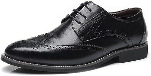 SRY-chaussures Hommes Simples en Cuir véritable Brogue Chaussures Wingtip Creux Creux Sculpture Dentelle à Lacets Bloc Talon Affaires Oxfords (Couleur   Noir, Taille   11.5MUS)  Dans votre attente