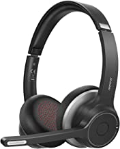 $49 » Mpow Bluetooth Headset V5.0 with Microphone Wireless PC Headphones CVC8.0 Noise Canceling On Earfor Computer Cell Phone, Call Center, Office Skype, Webinar,22 Hours Talk Time, Soft Earpad(Black)
