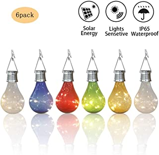 Obell Solar Light Bulbs 6 Pack Waterproof Rotatable Outdoor Garden Camping Hanging LED Light Lamp Bulb Globe Hanging Lights for Home Christmas Party Holiday Decorations (6 Pack-Solar Light Bulbs)