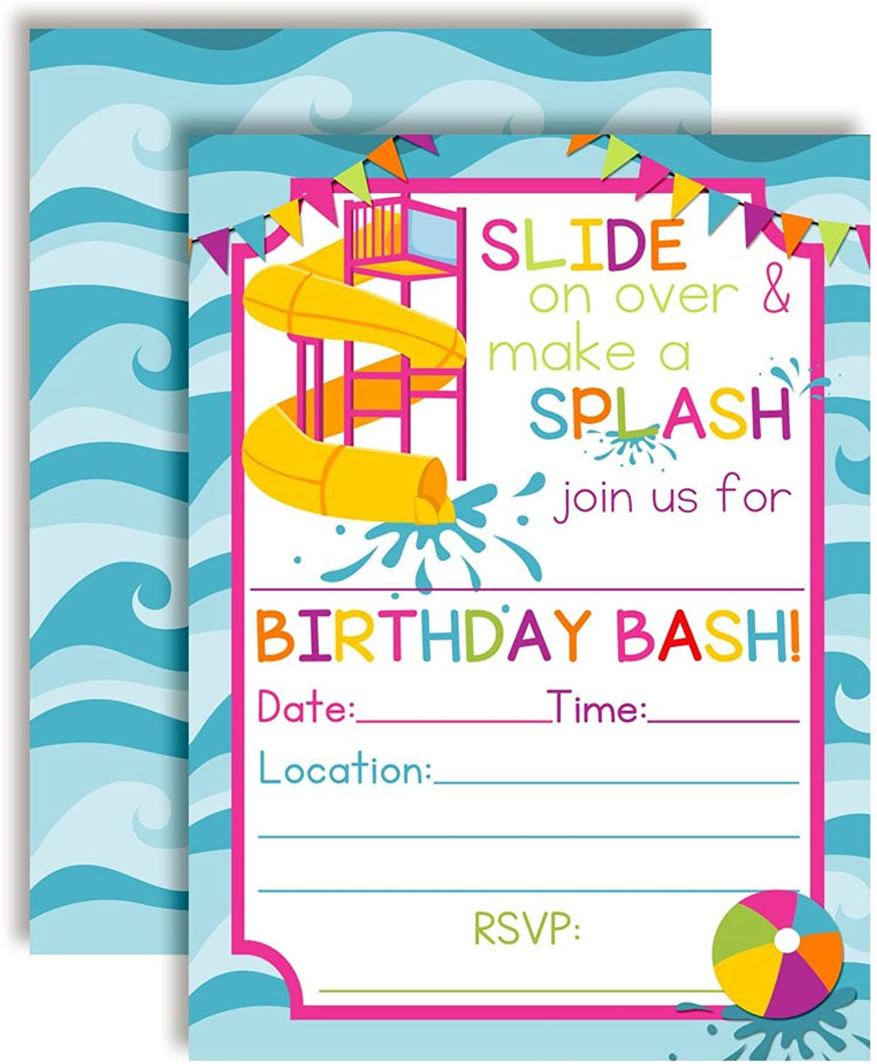 Waterslide Summer Fun Birthday Party Invitations for Girls, 20 5 x7  Fill in Cards with Twenty White Envelopes by AmandaCreation