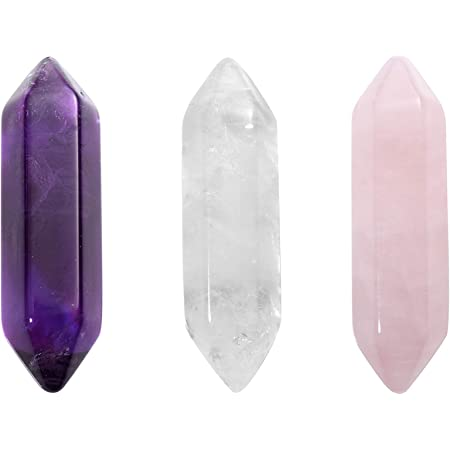 "CrystalTears Healing Crystal Wands Hexagonal Natural Amethyst Rose Quartz Clear Quartz Reiki Healing Crystals Points Gemstone Wand Set for Meditation Crystal Therapy 1.18""-1.3"""