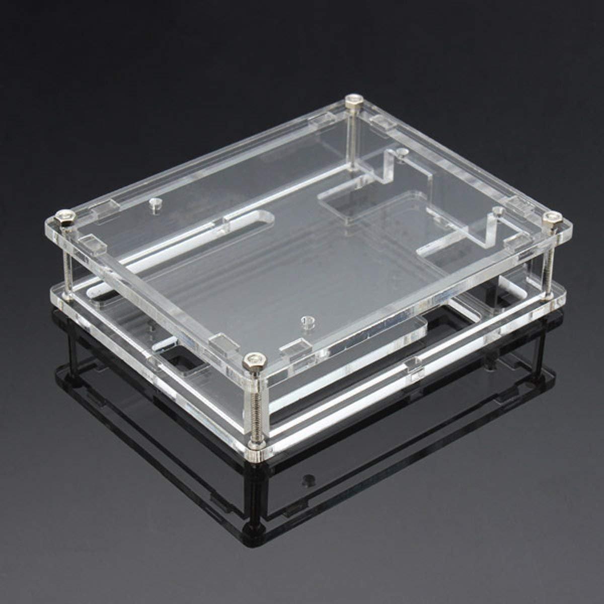 DollaTek Caja de Caja Uno R3 Nueva Caja de computadora acrílica Brillante Transparente Compatible con Arduino UNO R3: Amazon.es: Electrónica