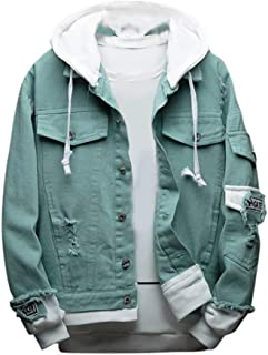 LENXH Men's Denim Jacket Fashion Hooded Sweater Casual Tops Solid Color Sweater Fake Two-Piece Shirt