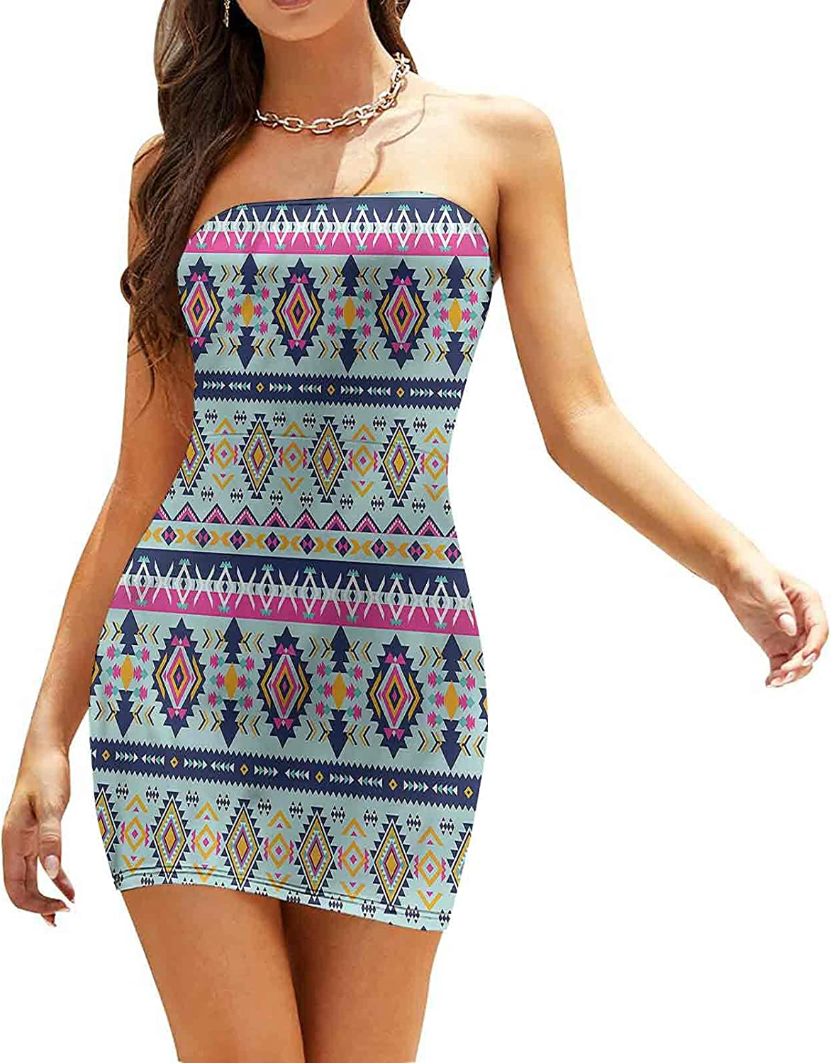 Women's Summer Strapless Dresses Triangles and Squares Dresses