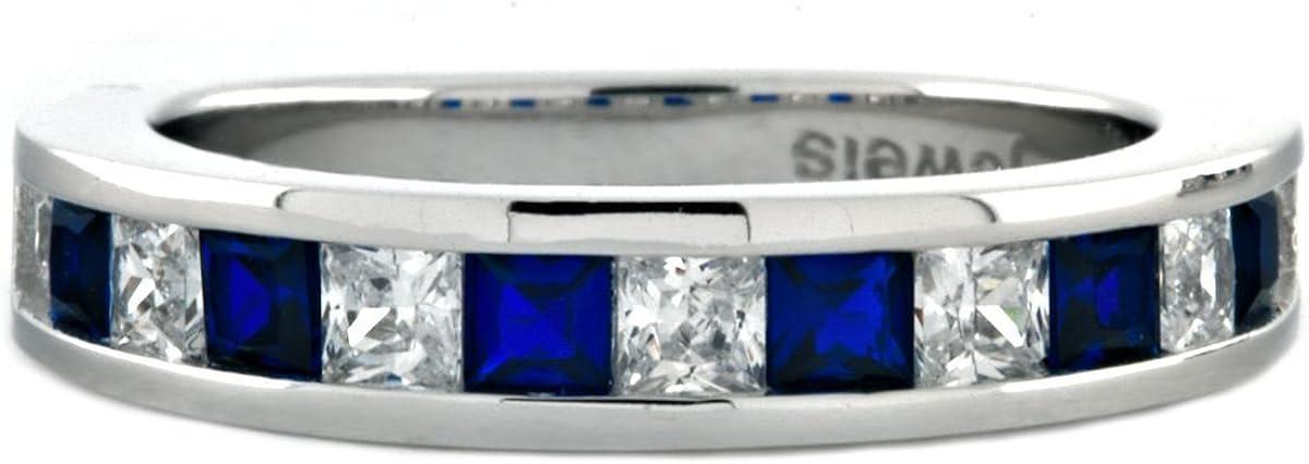 1000 Jewels Olivia B: Detroit Mall Princess-Cut Max 55% OFF Sapphire IOF S CZ Simulated