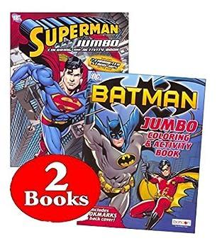 Bendon Publishing DC Comics Batman & Superman Coloring and Activity Book Set  Two 96 -Page Books