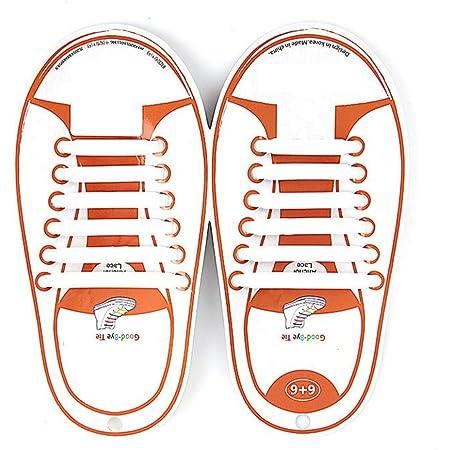 Kuyia sans Cravate Silicone Mode Lacets pour enfants et adultes imperméable facile à nettoyer élastique plat Athletic Running Chaussures de sport en dentelle