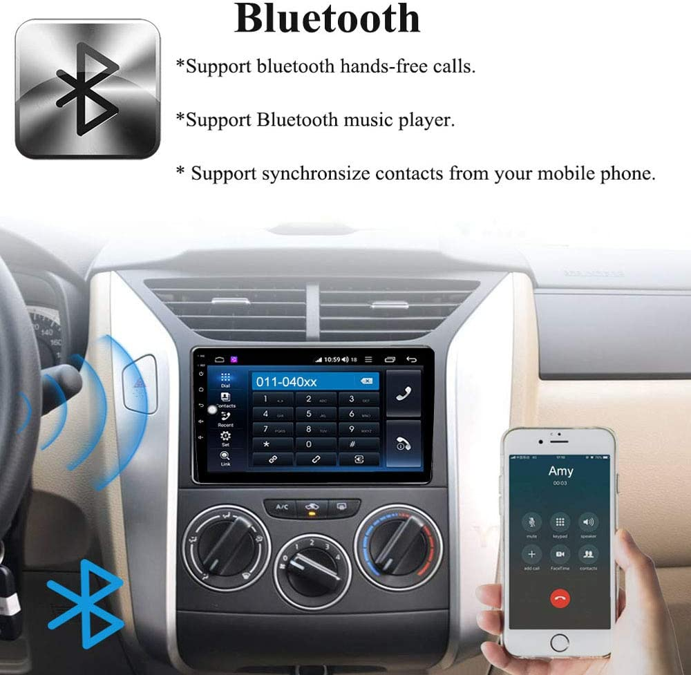 Binize 10 Inch Single Din Touch Screen in-Dash Android Car Stereo Multimedia Player,GPS Navigation Receiver,with Bluetooth,FM Radio,Dual USB,Mirror Link,Backup Camera Input 1006 2G RAM+32G ROM