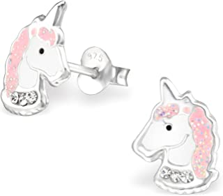 925 Sterling Silver Hypoallergenic Light Pink Sparkling Unicorn Head Stud Earrings 32010