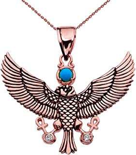 14k Rose Gold Diamond Falcon of Tutankhamun Holding The 'Ankh' Cross Pendant Necklace