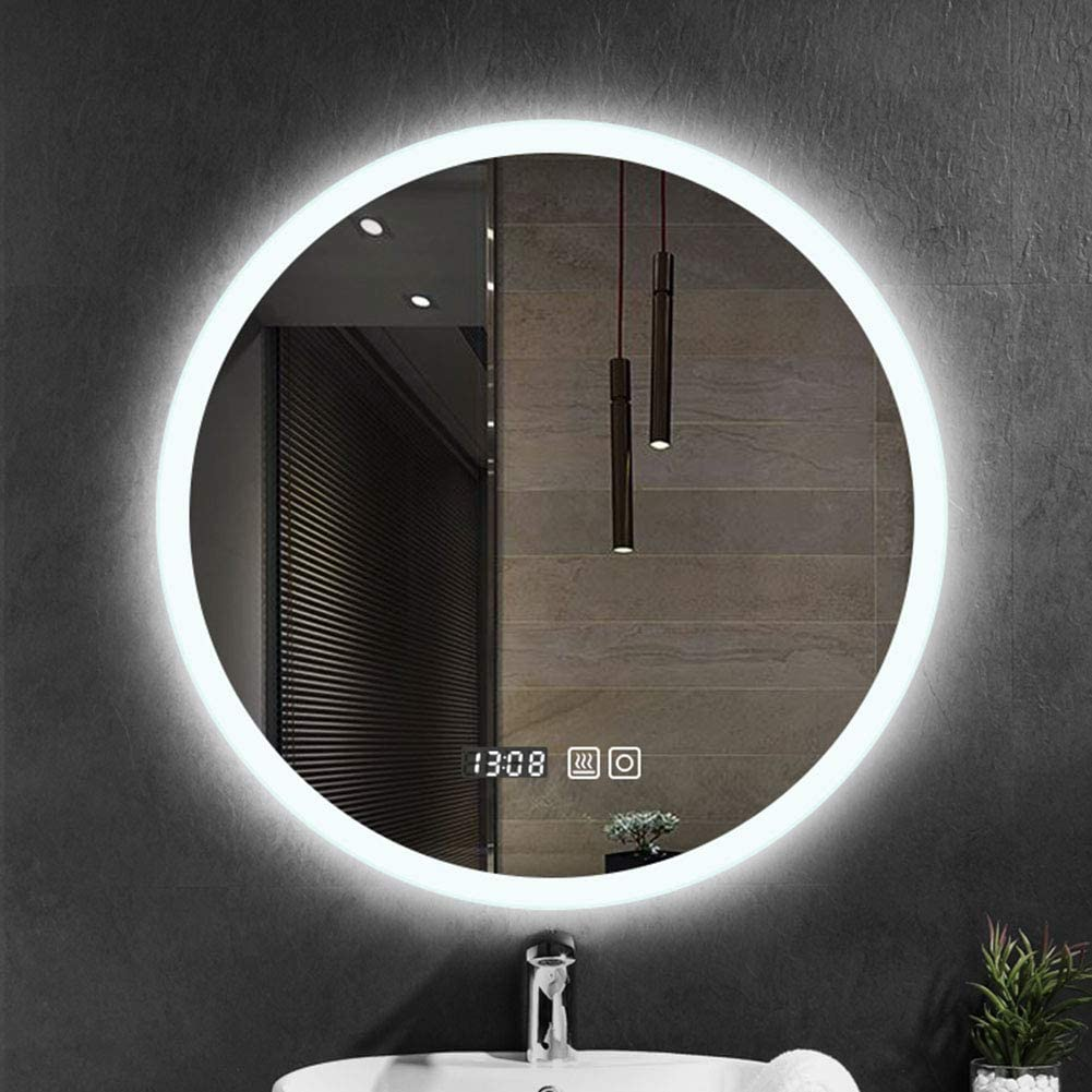 Amazon Com Round Modern Bathroom Mirror Illuminated Led Wall Mount Mirror Backlight Vanity Time Temperature Stepless Dimming Home Kitchen