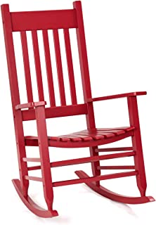 Giantex Outdoor Wood Rocking Chair Porch Rocker 100% Natural Solid Wooden Indoor Deck Patio Backyard Living Room Rocking Chairs (Red)