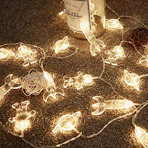 20 LED Kinderzimmer LED Lichterkette Astronauten Raumschiff Rakete UFO Anhänger Lichterkette Urlaub Party Lichter Wand Fenster Baum Dekorative Lichter (Licht Warmweiß