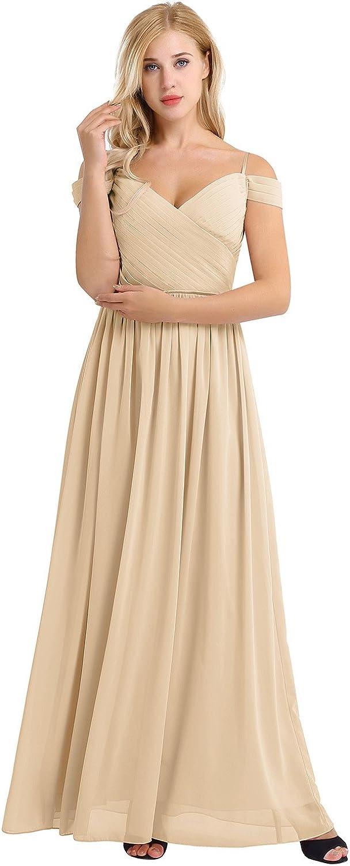 YiZYiF Women's Chiffon V Austin Mall Neck Flare F Bridesmaid Long Max 72% OFF Flowy Maxi
