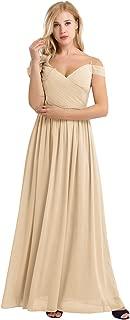 Women's Chiffon V Neck Flare Flowy Long Maxi Bridesmaid Formal Party Dress