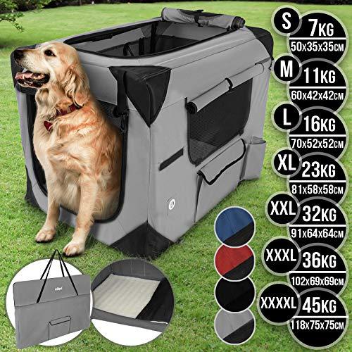 Hundebox aus Stoff - faltbar, zusammengefaltet tragbar, abwaschbar, Farbwahl, Größenwahl S-XXXXL - Hundetransportbox, Auto Transportbox, Katzenbox für Hunde, Katzen und Kleintiere (XXXXL, Dunkelgrau)