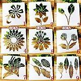 BLUGUL Plantillas de Dibujo, para Scrapbooking, Manualidades, DIY, Album de Fotos, Cuaderno, Diario, Flor Planta Hojas, Naturaleza C 9pcs