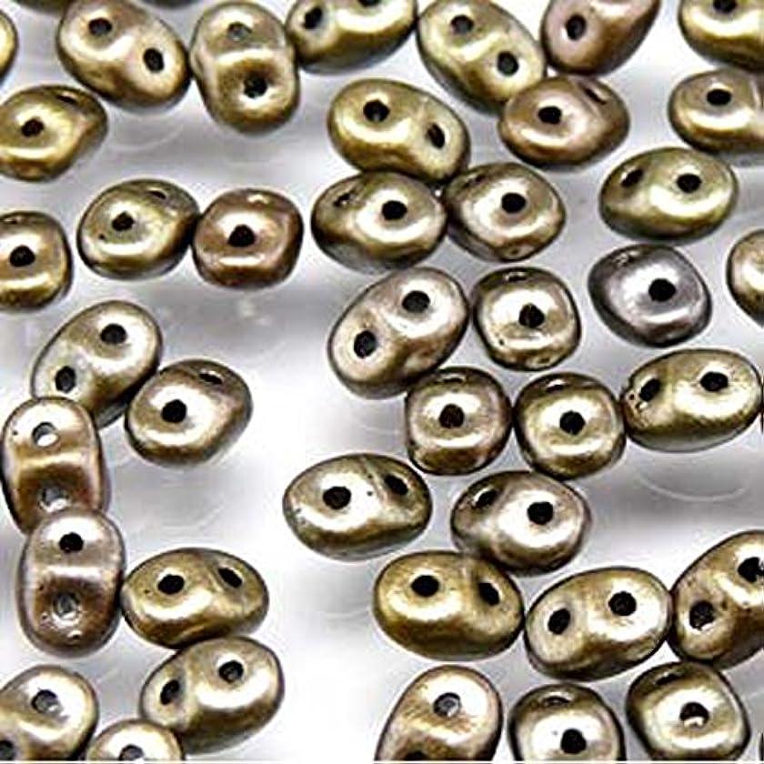 20gr Czech Two Hole Seed Beads SuperDuo 2,5x5 mm CRYSTAL GREY RAINBOW