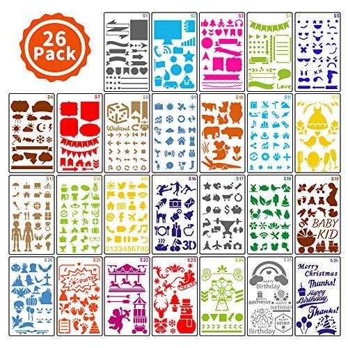ARPDJK Journal Schablonen Set für Kinder, 26 Stück Verschiedenen Formen Malen Stencils mit Festivals, Tiere, Blumen, Wiederverwendbare Schablone Zubehör für Journaling, Scrapbook, 4 x 7 Inches