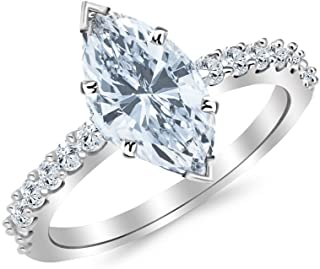 1.5 Ctw 14K White Gold Classic Side Stone Prong Set Marquise Cut GIA Certified Diamond Engagement Ring (1 Ct G Color SI2 Clarity Center Stone)
