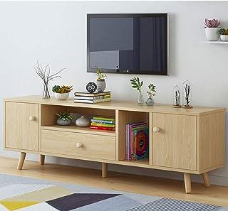 Muebles Salon Salón Moderno Mueble Sala TV Pino Bajos Estrechos para Estrecho Mesa con Led Rusticos Madera Televisor Apara...