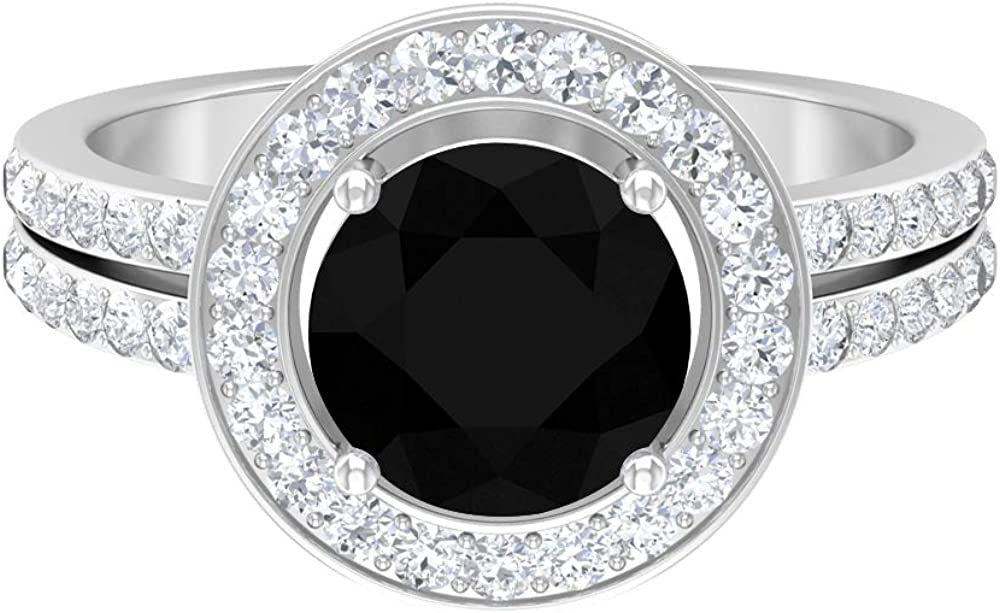 December Birthstone - 2.75 Black Onyx Solitaire Engagement Ring with Moissanite Accent (AAA Quality),14K White Gold,Black Onyx,Size:US 12.50