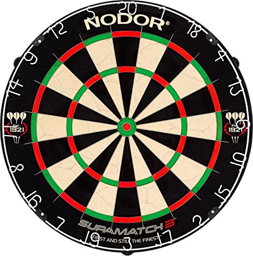 Nodor SupaMatch 3 Bristle Dartboard with Staple-Free Wiring System Significantly Reducing Bounce Outs