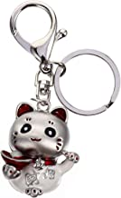 KESYOO Lucky Cat Figure Keychain Maneki Neko Style Good Luck Metal Keyring Feng Shui Charm Pendant Hanging for Wealth Fort...