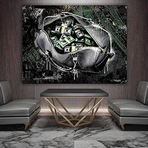 LangGe Pinturas Decoración 50x70cm sin Marco Monedero Abstracto Dinero Decoración para el hogar Cartel Moderno Modular para Sala de Estar
