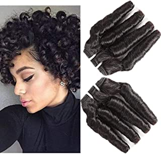 Brazilian Loose Curl Hair Weave Bundles Curly Hair Spiral Curl Funmi Human Hair Extensions 100% Unprocessed Virgin Human Hair Weft 100g/pc Natural Black(TQ10 12 14 inches)