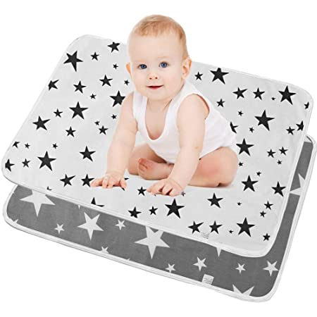 SunTop 2 pezzi Bambino Fasciatoio, Pannolini portatili da 50 cm x 70 cm, Materassino per neonati lavabile, riutilizzabile, traspirante, a prova di perdite, Fasciatoio da viaggio portatile