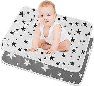 SunTop 2 st skötmattor för baby, bärbar babybytesdyna, tvättbar bomullsblöjmatta vattentät lakan vikbar blöja nyfödda och ...