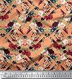 Soimoi Orange Heavy Canvas Stoff Geometric Shapes & Baccara
