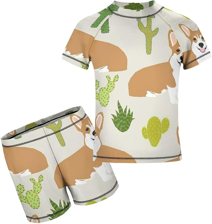 Yiaoflying Kids Boys 2 Piece Swim Set - Cute Corgi Cactus Rash Guard Swimsuit Trunks