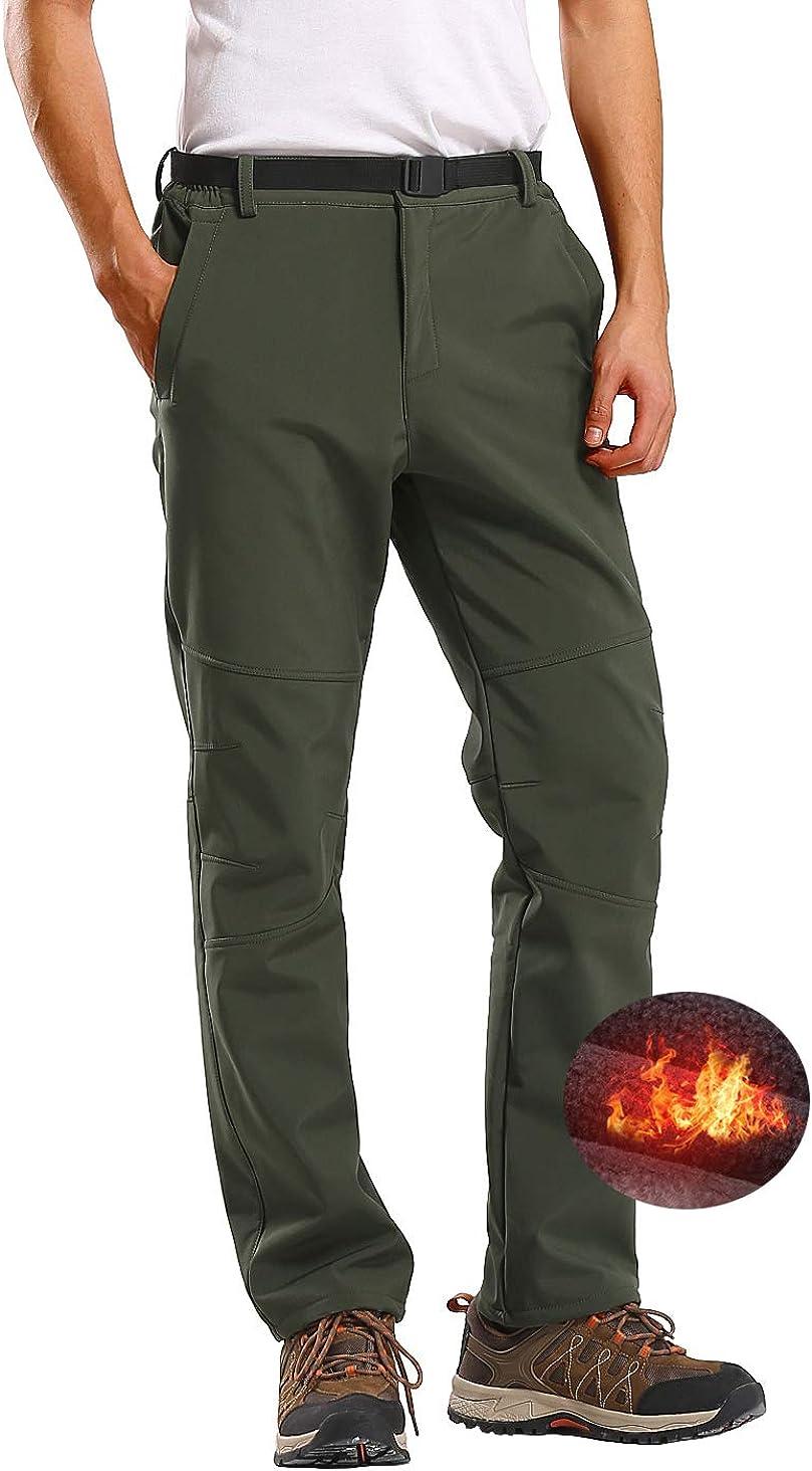 Kolongvangie Mens Outdoor Fleece Lined Ripstop Comfortable Snow Pants