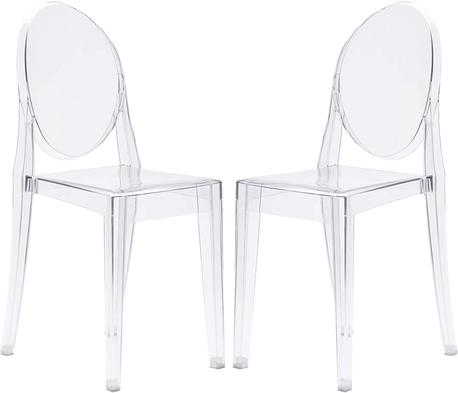 Poly and Bark Burton Side Chair in Clear (Set of 2)