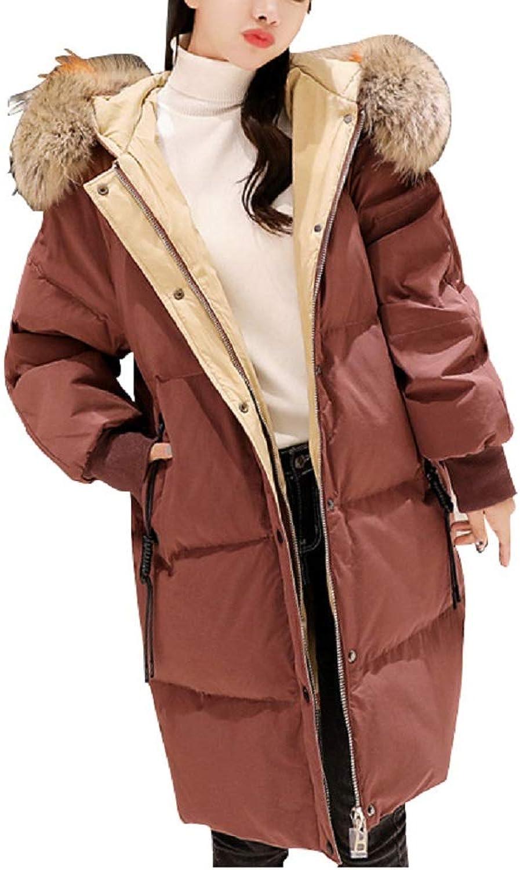 Aehoor Winter Down Jacket Loose Large Fur Collar Slim Warm Female 90% Duck Down