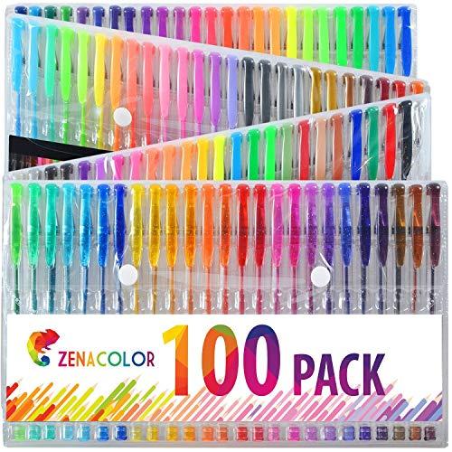 100 Penne Gel Colorate Zenacolor con Astuccio - Set Extra Large - 100 Colori Unici – Con Inchiostro Fluido della Migliore Qualità - Ottime per la Colorazione di Libri per Adulti